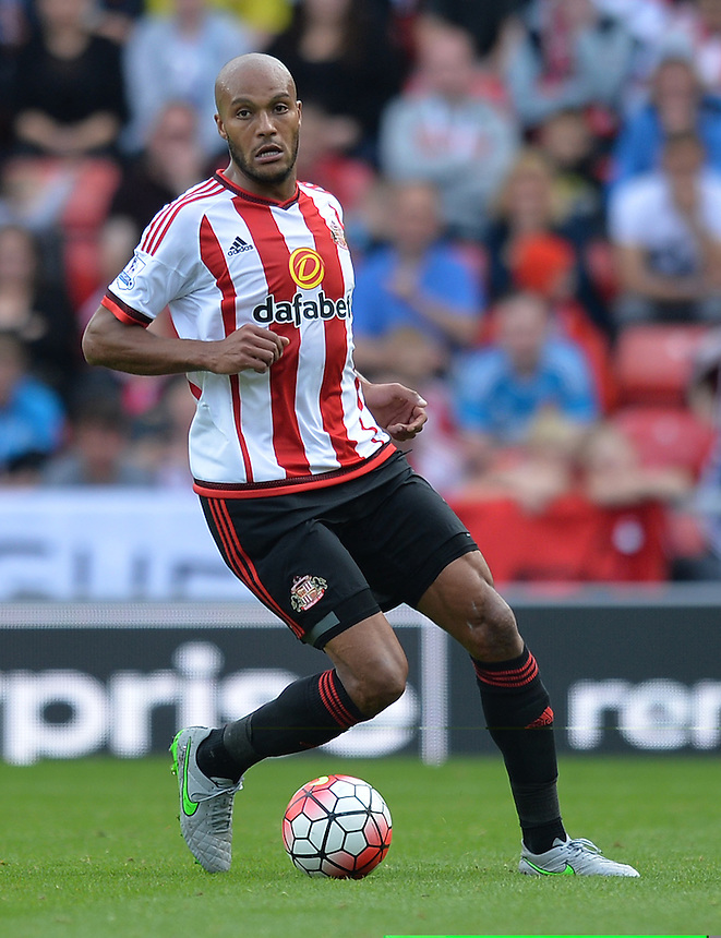 Sunderland's Youn&egrave;s Kaboul<br /> <br /> Photographer Dave Howarth/CameraSport<br /> <br /> Football - Barclays Premiership - Sunderland v Tottenham Hotspur - Sunday 13th September 2015 - Stadium of Light - Sunderland<br /> <br /> &copy; CameraSport - 43 Linden Ave. Countesthorpe. Leicester. England. LE8 5PG - Tel: +44 (0) 116 277 4147 - admin@camerasport.com - www.camerasport.com