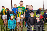Lispole captain Declan O'Sullivan lifts the Munster Junior B Club Football Cup following his sides victory over Ballyhooly in Knockaderry