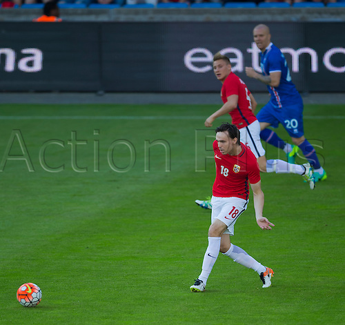 01.06.2016  Ullevaal Stadion, Oslo, Norway.  Ole Selnaes of Norway passes the ball forward during the International Football Friendly match between Norway versus Iceland at  Ullevaal Stadion in Oslo, Norway.