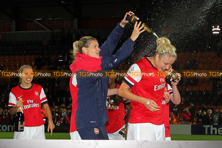 Kelly Smith of Arsenal sprays Steph Houghton with champagne - Arsenal Ladies vs Lincoln Ladies - FA Womens Super League Continental Cup Final Football at The Hive Stadium, Barnet FC - 04/10/13 - MANDATORY CREDIT: Gavin Ellis/TGSPHOTO - Self billing applies where appropriate - 0845 094 6026 - contact@tgsphoto.co.uk - NO UNPAID USE