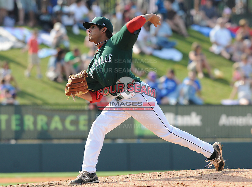 Starting pitcher Mickey Pena (5) of the Greenville Drive in a game against the West Virginia Power on May 20, 2012, at Fluor Field at the West End in Greenville, South Carolina. Greenville won 6-5. (Tom Priddy/Four Seam Images)