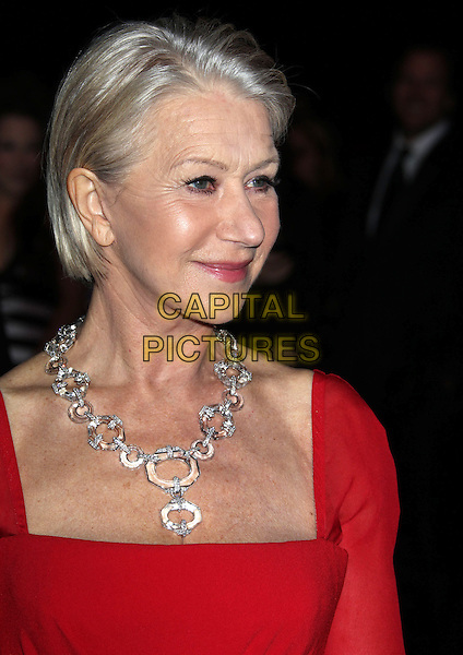 Helen Mirren.24th Annual Palm Springs International Film Festival Awards Gala held at at Palm Springs Convention Center, Palm Springs, California, USA,.5th January 2013..headshot portrait red silver diamond necklace  .CAP/ADM/RE.©Russ Elliot/AdMedia/Capital Pictures.