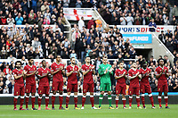 Liverpool players line up ahead of kick-off<br /> <br /> Photographer Rich Linley/CameraSport<br /> <br /> The Premier League -  Newcastle United v Liverpool - Sunday 1st October 2017 - St James' Park - Newcastle<br /> <br /> World Copyright &copy; 2017 CameraSport. All rights reserved. 43 Linden Ave. Countesthorpe. Leicester. England. LE8 5PG - Tel: +44 (0) 116 277 4147 - admin@camerasport.com - www.camerasport.com