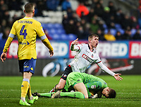 Bolton Wanderers' Josh Vela competing with Leeds United's goalkeeper Bailey Peacock-Farrell<br /> <br /> Photographer Andrew Kearns/CameraSport<br /> <br /> The EFL Sky Bet Championship - Bolton Wanderers v Leeds United - Saturday 15th December 2018 - University of Bolton Stadium - Bolton<br /> <br /> World Copyright &copy; 2018 CameraSport. All rights reserved. 43 Linden Ave. Countesthorpe. Leicester. England. LE8 5PG - Tel: +44 (0) 116 277 4147 - admin@camerasport.com - www.camerasport.com
