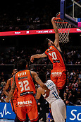 25th March 2018, Madrid, Spain; Endesa Basketball League, Real Madrid versus Valencia; Joan Sastre (Valencia Basket) dunks the ball for 2 points
