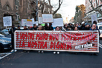 The International Day of Solidarity with Refugees and Migrants rally was held at Vittorio square, in Rome, Italy  1th March 2016. The banner reads: Your walls will not stop our dignity.