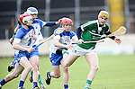 XXjob 06/05/2015 SPORT<br /> Limerick Seamus Flanagan &amp; Waterford's Darragh Lynch &amp; Darragh Lyons  in Action during their 2015 Electric Ireland Munster GAA Hurling Minor Championship.<br /> Picture  Credit Brian Gavin Press 22