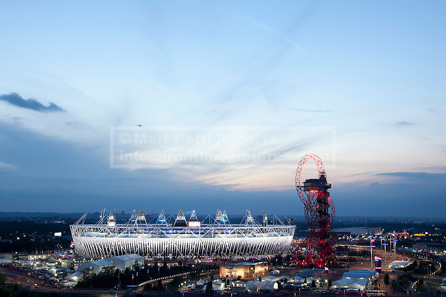 12/08/2012. LONDON, UK. The Olympic Stadium and ArcelorMittal Orbit are seen as the closing ceremony of the 2012 Summer Olympics prepares to get underway in London today (12/08/12). The Games of the 30th Olympiad today come to a close in London after two weeks of athletics and sports competition carried out by 204 countries from around the world. Photo credit: Matt Cetti-Roberts