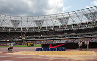 General view of Jessica ENNIS HILL of GBR (Women's Long Jump) making her final jump during the Sainsbury's Anniversary Games, Athletics event at the Olympic Park, London, England on 25 July 2015. Photo by Andy Rowland.