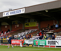 A general view of the main stand prior to during the Carabao Cup match between AFC Wimbledon and Brentford at the Cherry Red Records Stadium, Kingston, England on 8 August 2017. Photo by Carlton Myrie.