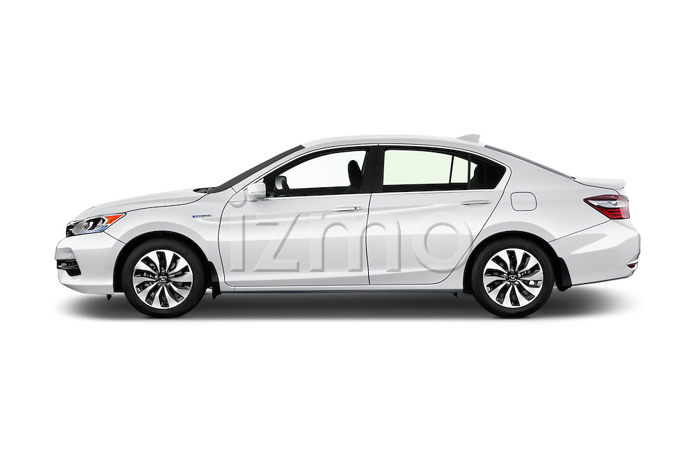 Car Driver side profile view of a 2017 Honda Accord Hybrid 4 Door Sedan Side View
