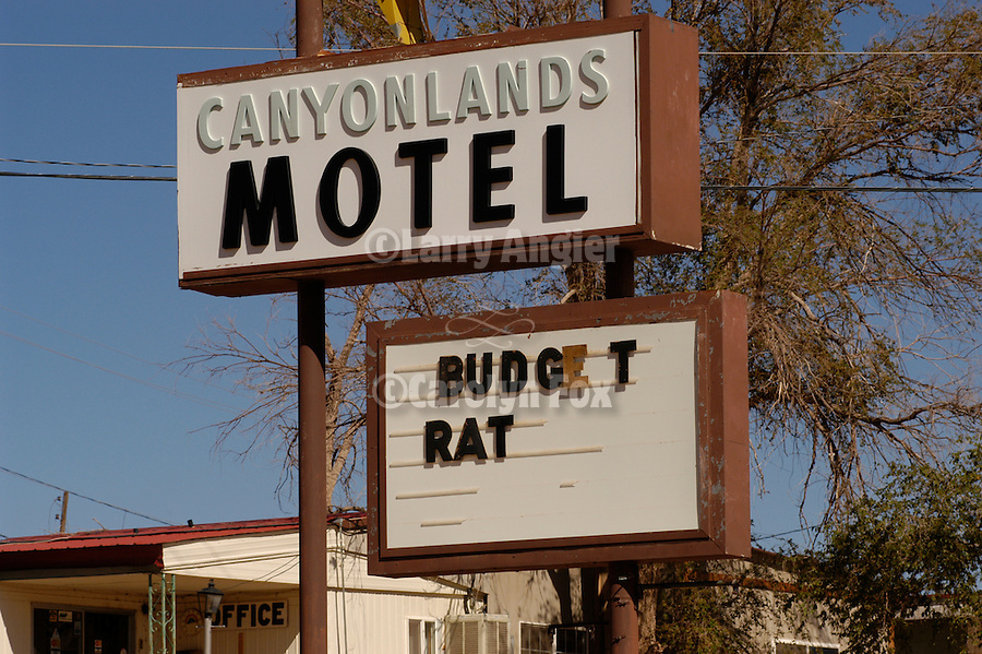 "Sign for ""Budget Rat"" at the Canyonlands Motel, Mexican Hat, Utah."