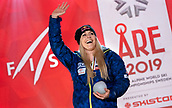 10th February 2019, Are, Sweden; Alpine skiing: Combination, ladies: downhill; Lindsey Vonn from the USA is waving her bronze medal at the award ceremony at the end of the World Championships.