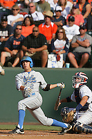 Niko Gallego of the UCLA Bruins during game against the Cal.St. Fullerton Titans at Jackie Robinson Stadium in Los Angeles,California on June 12, 2010. Photo by Larry Goren/Four Seam Images