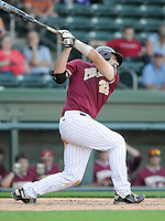 Catcher Ryan Kinsella (22) of the Elon College Phoenix in a game against the Clemson Tigers on March 21, 2012, at Fluor Field at the West End in Greenville, South Carolina. Clemson won 4-2. (Tom Priddy/Four Seam Images)