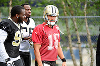 Wednesday August 10, 2016: New Orleans Saints quarterback Garrett Grayson (18) walks to the practice field at a joint training camp practice between New England Patriots and  the New Orleans Saints  training camp held Gillette Stadium in Foxborough Massachusetts. Eric Canha/CSM