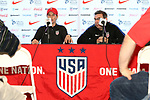 Cary, NC - Saturday October 21, 2017: Jill Ellis and Aaron Heifetz during a United States (USA) Women's National Team press conference at Sahlen's Stadium at WakeMed Soccer Park.