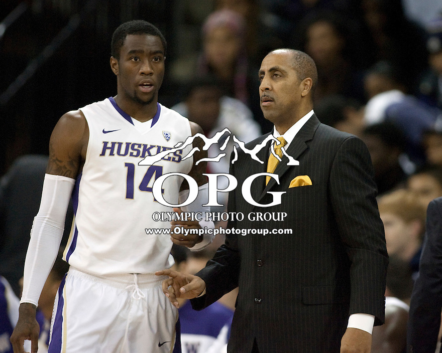 Jan 15, 2012:  Washington head coach Lorenzo Romar and Tony Wroten against Washington State.  Washington defeated Washington State 75-65 at Alaska Airlines Arena Seattle, Washington...