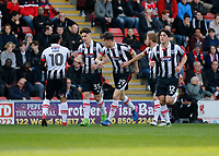 Grimsby Town's Sam Jones is congratulated after his goal during the Sky Bet League 2 match between Leyton Orient and Grimsby Town at the Matchroom Stadium, London, England on 11 March 2017. Photo by Carlton Myrie / PRiME Media Images.