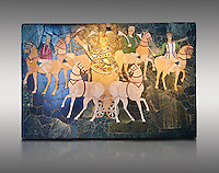 4th Century AD Roman Opus Sectile Mosaic of a chariot & 4 horses from the basilica de Giunio Basso.  Museo Nazionale Romano ( National Roman Museum), Rome, Italy. Against a grey background.
