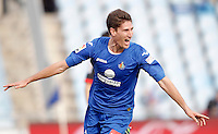Getafe's Federico Fernandez celebrates during La Liga match. February 16, 2013. (ALTERPHOTOS/Alvaro Hernandez) /Nortephoto