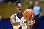 30 October 2014: Duke's Sierra Calhoun. The Duke University Blue Devils hosted the Limestone College Saints at Cameron Indoor Stadium in Durham, North Carolina in an NCAA Women's Basketball exhibition game. Duke won the game 100-33.