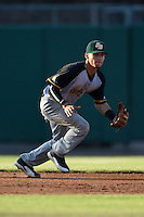 South Bend Silver Hawks shortstop Andrew Velazquez (16) fields a ground ball during a game against the Lansing Lugnuts on June 6, 2014 at Cooley Law School Stadium in Lansing, Michigan.  South Bend defeated Lansing 13-5.  (Mike Janes/Four Seam Images)