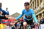 Race leader Christopher Lawless (GBR) Team Ineos at sign on before Stage 4 of the 2019 Tour de Yorkshire, running 175km from Halifax to Leeds, Yorkshire, England. 5th May 2019.<br /> Picture: ASO/SWPix | Cyclefile<br /> <br /> All photos usage must carry mandatory copyright credit (© Cyclefile | ASO/SWPix)
