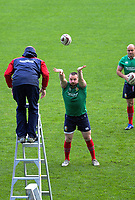 Ken Owens throws to assistant coach Steve Borthwick as Rory Best (right) looks on during the 2017 DHL Lions Series rugby union  British & Irish Lions captain's run at QBE Stadium in Albany New Zealand on Tuesday, 6 June 2017. Photo: Dave Lintott / lintottphoto.co.nz