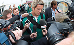 Rapid Vienna's Rangvald Soma arrives to a mob in Glasgow