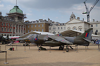 Harrier<br /> RAF100 Aircraft Tour: aircraft of the UK RAF / Royal Air Force on display on Horse Guards Parade in front of the Admiralty House, London, England on July 06, 2018.<br /> CAP/SDL<br /> &copy;Stephen Loftus/Capital Pictures