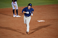 Mobile BayBears first baseman Matt Thaiss (21) runs the bases after hitting a home run in the bottom of the seventh inning during a game against the Chattanooga Lookouts on May 5, 2018 at Hank Aaron Stadium in Mobile, Alabama.  Chattanooga defeated Mobile 11-5.  (Mike Janes/Four Seam Images)
