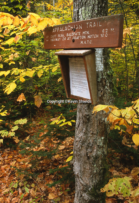 Appalachian Trail sign in Andover West Surplus, Maine, USA