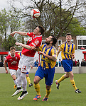 © Joel Goodman - 07973 332324 . 25/04/2015 . Salford , UK . Matt Chadwick heads the ball . Evostick League champions , Salford FC , play Osset Town , in Salford . Photo credit : Joel Goodman