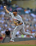 29 September 2012: Detroit Tigers pitcher Joaquin Benoit in action against the Minnesota Twins at Target Field in Minneapolis, MN. The Tigers defeated the Twins 6-4 in the second game of their 3-game series. Mandatory Credit: Ed Wolfstein Photo