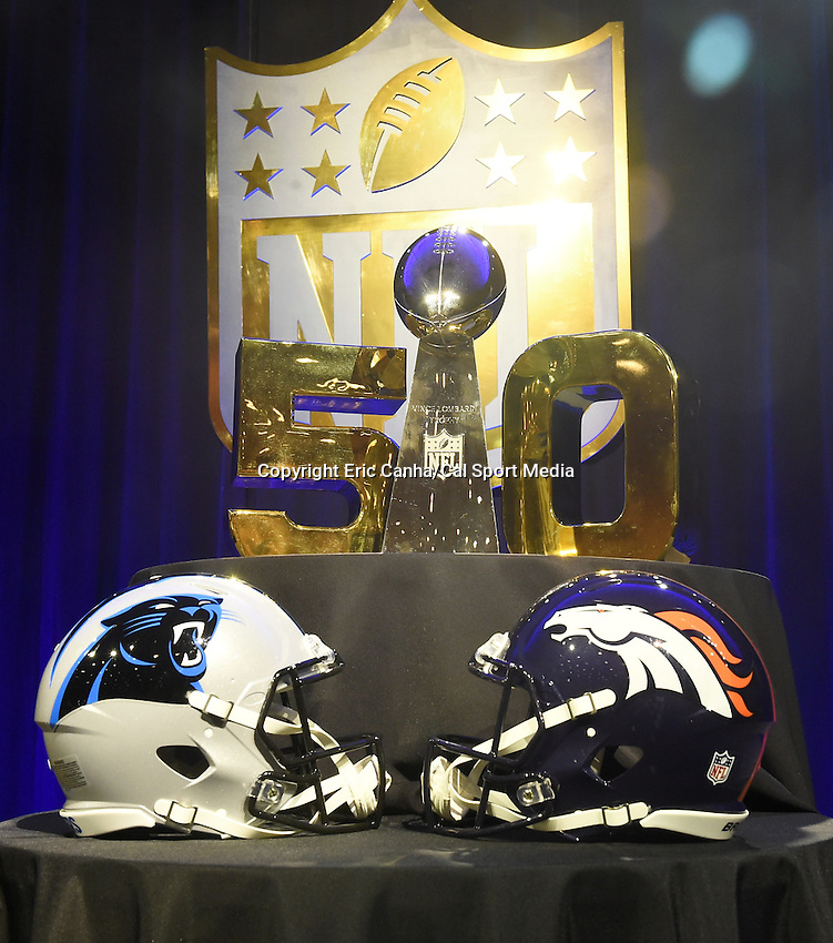 Friday, February 5, 2016: The helmets of both the Carolina Panthers and the Denver Broncos as well as the Lombardi Trophy are put on display at the Moscone Center in San Francisco, California during the National Football League week long opening celebrations for Super Bowl 50 between the Carolina Panthers and the Denver Broncos . Eric Canha/CSM