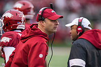 Hawgs Illustrated/BEN GOFF <br /> Barry Lunney, Jr., Arkansas interim head coach, reacts as players come off the field following a Missouri extra point in the third quarter Saturday, Nov. 29, 2019, at War Memorial Stadium in Little Rock.
