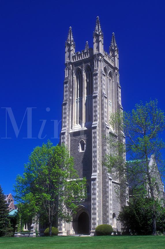 AJ1412, college, Williams College, chapel, university, Massachusetts, The Berkshires, Thompson Memorial Chapel at Williams College in Williamstown, Massachusetts in the spring.
