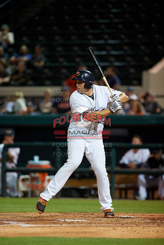 Lakeland Flying Tigers first baseman Reynaldo Rivera (35) at bat during a Florida State League game against the Tampa Tarpons on April 5, 2019 at Publix Field at Joker Marchant Stadium in Lakeland, Florida.  Lakeland defeated Tampa 5-3.  (Mike Janes/Four Seam Images)