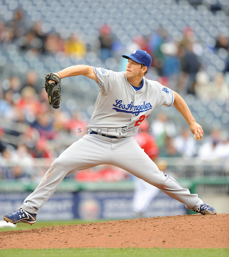 CLAYTON KERSHAW, of the Los Angeles Dodgers, in action during the Dodgers game against the Washington Nations  at Nationals Park in Washington D.C.on April 25, 2010.   The Dodgers win the game 1-0....