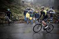 Luke Durbridge (AUS/Mitchelton-Scott) up the extremely wet, cold & misty Cole di Mortirolo <br /> <br /> Stage 16: Lovere to Ponte di Legno (194km)<br /> 102nd Giro d'Italia 2019<br /> <br /> ©kramon