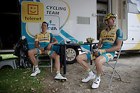 cyclocross riders Tom Meeusen (BEL/Telenet-Fidea) &amp; Jim Aernouts (BEL/Telenet-Fidea) recuperate at their team camper after quiting the race with 2, 3 laps to go<br /> <br /> Belgian Championships 2015