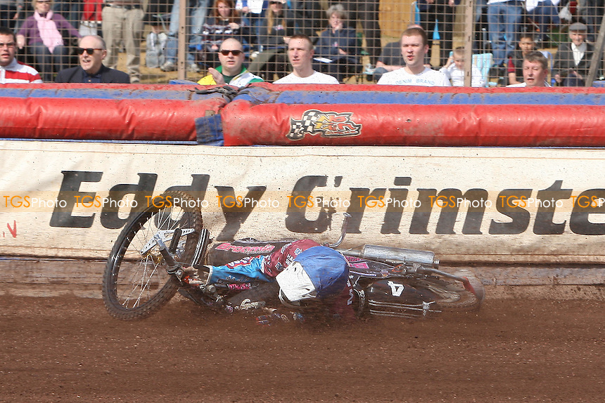 Heat 9: Rob Mear of Lakeside crashes out - Lakeside Hammers vs Eastbourne Eagles - Sky Sports Elite League Speedway at Arena Essex Raceway, Purfleet - 06/04/12 - MANDATORY CREDIT: Gavin Ellis/TGSPHOTO - Self billing applies where appropriate - 0845 094 6026 - contact@tgsphoto.co.uk - NO UNPAID USE.