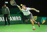 Rotterdam, Netherlands, 6 februari, 2016, ABNAMRO  <br /> Evgeny Donskoy  in actie tegen Tim Van Rijthoven  in eerste ronde kwalificaties