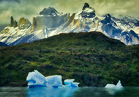 icebergs in Lago Grey and Cuernas Paine peaks.Torres del Paine National Park, Chile. Argentina