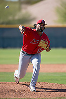 Los Angeles Angels relief pitcher Kida De La Cruz (93) during a Minor League Spring Training game against the Chicago Cubs at Sloan Park on March 20, 2018 in Mesa, Arizona. (Zachary Lucy/Four Seam Images)