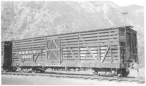 3/4 view of D&amp;RGW stock car #5979 at Durango.<br /> D&amp;RGW  Durango, CO  Taken by Peyton, Ernie S. - 6/19/1946
