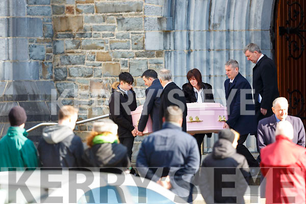 Amy O'Connor remains are taken from St Marys Cathedral after her funeral mass on Wednesday
