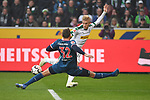04.11.2018, Borussia Park , Moenchengladbach, GER, 1. FBL,  Borussia Moenchengladbach vs. Fortuna Duesseldorf,<br />  <br /> DFL regulations prohibit any use of photographs as image sequences and/or quasi-video<br /> <br /> im Bild / picture shows: <br /> Robin Bormuth (Fortuna Duesseldorf #32),  im Zweikampf gegen  Oscar Wendt (Gladbach #17), <br /> <br /> Foto &copy; nordphoto / Meuter