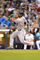 Minnesota Twins outfielder Aaron Hicks #32 during a game against the Milwaukee Brewers at Miller Park on May 27, 2013 in Milwaukee, Wisconsin.  Minnesota defeated Milwaukee 6-3.  (Mike Janes/Four Seam Images)